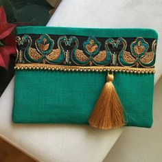Green gold embroidered boho clutch | Etsy