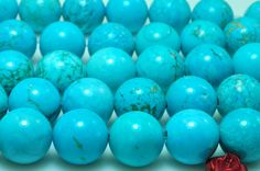 37 pcs of Turquoise matte round beads in 10 mm