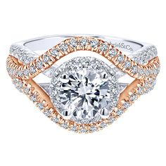 18k White/pink Gold Contemporary Style  Halo Engagement Ring