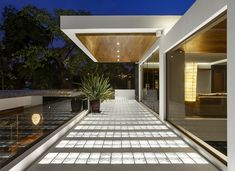 Beautifully illuminated tempered glass is used throughout the home