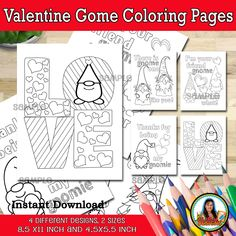Valentine Gnome PRINTABLE, PDF File Coloring Pages for Adult and Kids Instant Download Digital File Printable Invitations, Party Printables, Flyer Printing, Engagement Celebration, Thank You Tags, Printable Designs, Custom Buttons, Adult Coloring Pages, Winter Holidays