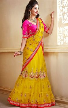 Picture of Magnificent Mustard and Pink Color Designer Lehenga Choli