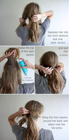 Cross over messy ponytail