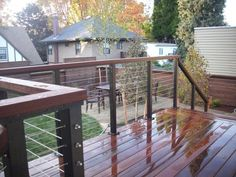 Ipe deck with Stainless steel cable rail | Deck Masters, llc - Portland, OR