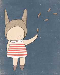 Children Illustration- Bunny Rabbit Girl Stripes - Blue and Coral - Art Print on Etsy, $18.98
