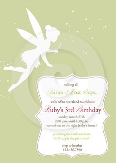 Neverland Collection - 5x7 Invitation - P.I.Y. (print-it-yourself). $15.50, via Etsy.