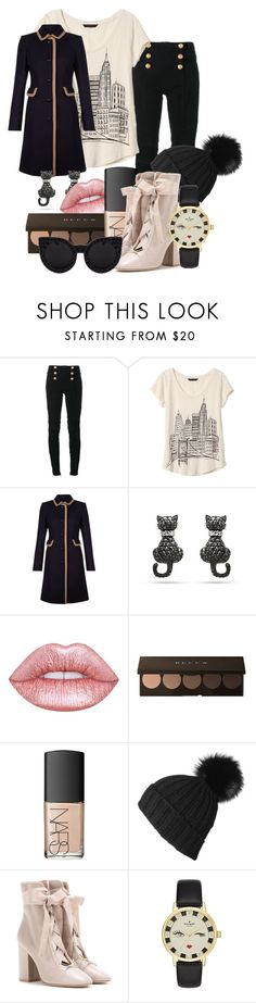 """Late night"" by ktowner23 ❤ liked on Polyvore featuring Balmain, Banana Republic, Hobbs, Lime Crime, NARS Cosmetics, Black, Valentino, Kate Spade and Delalle"