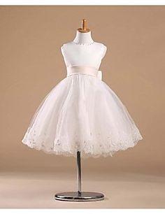 Flower Girl Dress Knee-length Satin/Tulle Princess Sleeveless Dress – GBP £ 43.79