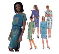 Beginner Sewing Pattern Easy Dress Bateau Neckline by HoneymoonBus, $9.99