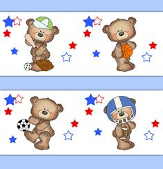 TEDDY BEAR SPORTS Boy Nursery Wallpaper Border Wall Art Decals Decor All Star Baby Shower Decorations