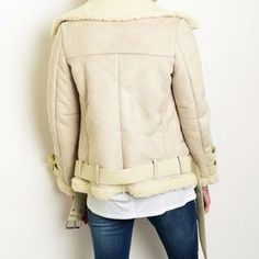Buyme4Less Jackets & Coats - Faux Lamb Suede Shearling Aviator Bomber Moto Coat