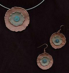 www.gallerysanivia.com  Handmade jewellery  Miedziany komplet biżuterii wyroby z miedzi i nowego srebra