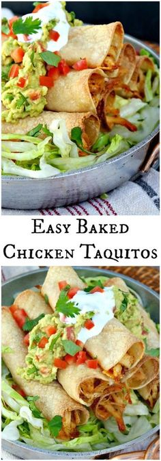 Baked Chicken Taquitos filled with seasoned shredded chicken and cheese! Add your favorite toppings and enjoy at your next fiesta! The Foodie Affair (Baked Chicken) Tex Mex, Mexican Dishes, Mexican Food Recipes, Dessert Recipes, I Love Food, Good Food, Baked Taquitos, Homemade Taquitos, Easy Baked Chicken