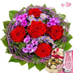 Bouquet with vase & Lindt Magical chocolates - [2937]  A real miracle color with 5 red roses, 2 lilac September herb, 3 purple phlox purple in a 1 decorative wooden collar and cut foliage. The diameter is about 30 cm. You will receive a bag of flower nutrients and nursing instructions.