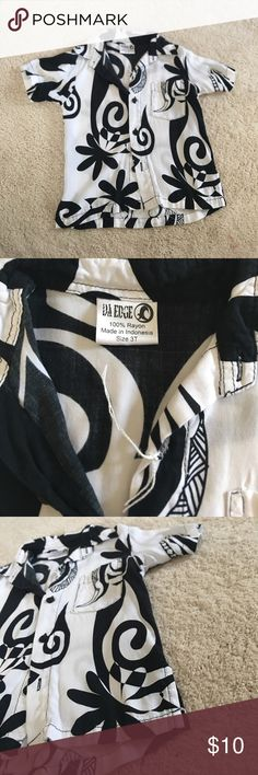 Little Boys Aloha Print Shirt NWOT (string from tag attached but no tag) black and white with minimal Polynesian design and abstract tiare print Da Edge Shirts & Tops Button Down Shirts