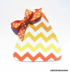 Halloween Chevron Candy Corn...Fabric Iron On Applique...Ribbon Included on Etsy, $3.00
