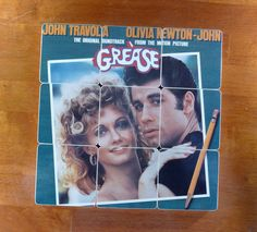 GREASE Upcycled Record Album Cover Coaster Set by RecycledAlbumArt, $31.99