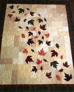 "Handmade Quilt ""Fall Leaves"" Decorative Autumn Throw wedding quilt -just thought this was pretty Halloween Quilts, Quilting Projects, Quilting Designs, Couture Pour Halloween, Canadian Quilts, Landscape Art Quilts, Quilt Modernen, Fall Quilts, Tree Quilt"