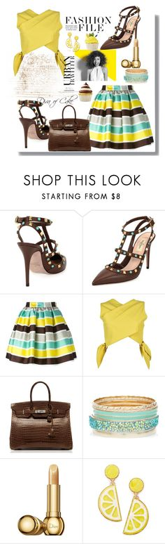 """""""Untitled #285"""" by Diva of Cake on Polyvore featuring Valentino, MSGM, Hermès, Paul Mitchell, Christian Dior and Celebrate Shop"""