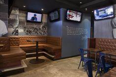 Photos at Bench Sports Bar - Brooklyn, NY. Hookah Lounge, Bar Lounge, Restaurant Design, Restaurant Bar, Pizzeria Design, Sportbar Design, Golf Bar, Bar Bench, Basement Renovations