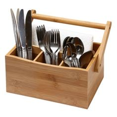 Ybm Home Kitchen Bamboo 4 Compartment Utensil Flatware Cutlery Caddy Holder with Handle 336 -- See this great product-affiliate link-affiliate link. Silverware Drawer Organizer, Cutlery Caddy, Cutlery Holder, Wooden Utensil Holder, Kitchen Organization, Kitchen Storage, Desktop Organization, Storage Organization, Small Wood Projects