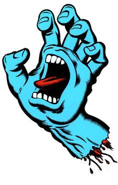 'Screaming Hand' Logo design for Santa Cruz Skateboards, by Jim Phillips