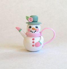 :: Crafty :: Clay ::☃ Christmas ☃:: miniature shabby rose snowman teapot by artist C. Rohal