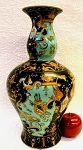 New Shape! Angels & Dragons Black & Turquoise Porcelain Curved Vase 14 inches #Chineseporcelain #homedecor #porcelainvase  http://www.bluewhitevases.com/Angels-and-Dragons-Turquoise-Porcelain-Curved-Vase-14_p_1487.html