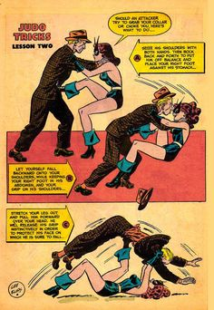 October 1962 issue of Black Cat teaches Judo with artwork by Lee Elias. Comic Book Pages, Comic Page, Comic Book Artists, Comic Book Heroes, Comic Books, Pub Vintage, Vintage Horror, Cat Comics, Horror Comics
