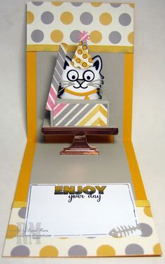 Whiskers the Cat with Cake Pop Up die converted to a box.