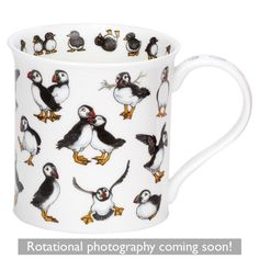 Puffins Galore Bute shape Mug Cute Mugs, Black Coffee, Shapes, Tableware, Gifts, Ceramics, Silver, House, Animals