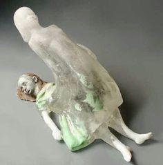 When the Body Sleeps, the Spirit Travels cast glass, ceramics Glass artist Christina Bothwell. Sculptures Céramiques, Art Sculpture, Arte Peculiar, Art Premier, 3d Studio, Inspiration Art, Art Object, Land Art, Macabre