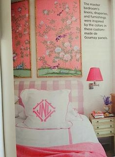 Pretty Pink Bedroom with de Gournay, Pink Gingham Headboard, and Fun Pink Monogram. The Relished Roost Pink Bedroom Decor, Pink Bedroom For Girls, Pink Bedrooms, Little Girl Rooms, Accent Wallpaper, Butterfly Room, Princess Bedrooms, Feminine Bedroom, Living Room Colors