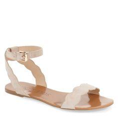 scalloped ankle strap sandal