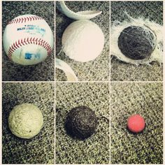 6 different balls that make up a baseball.