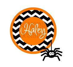 Chevron Halloween Trick or Treat Personalized Name iron on decal vinyl for shirt via Etsy