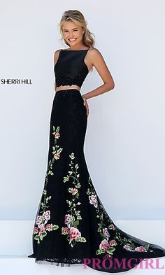 Embroidered Long Mermaid Style Prom Dress by Sherri Hill at PromGirl.com