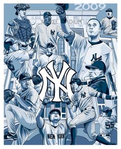 New York Yankees Team 2009 Yankees Baby, Yankees Team, Yankees Logo, New York Yankees Baseball, Baseball Painting, Mlb, Yankee Stadium, Atlanta Braves, Derek Jeter