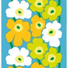 Marimekko Unikko Blue/Green/Yellow/White Fabric The spring-hued Marimekko Unikko poppy fabric displays alternating white, yellow and lime flowers with green stems over a sky blue background. This popular Marimekko design was created by Maija Isola i. Textures Patterns, Fabric Patterns, Print Patterns, Floral Patterns, Scandinavian Fabric, Scandinavian Design, Design Textile, Fabric Design, Marimekko Fabric