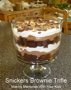 Snickers Brownie Trifle - Making Memories With Your Kids