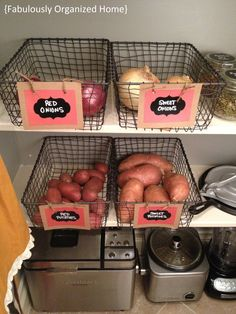 Kitchen pantry organization ideas, like the basket idea so you can always see what you have.