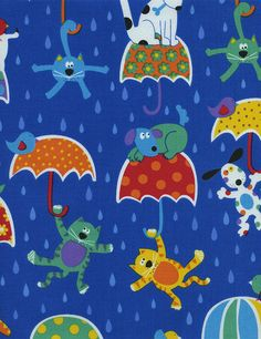 """Timeless Treasures """"Fun"""" Raining Cats & Dogs in Blue 1 Yard Cut Timeless Treasures Fabric, Raining Cats And Dogs, Cloudy Day, Stuffed Animal Patterns, Nursery Prints, Cool Cats, Quilting Projects, Cat Art, Print Patterns"""