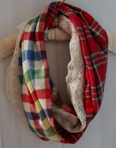 Flannel and Lace infinity scarf - would be so easy to make ... and would be so cute with jeans &/or denim jacket