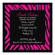 Pink & Black Zebra Girls Sixteenth Birthday Invite