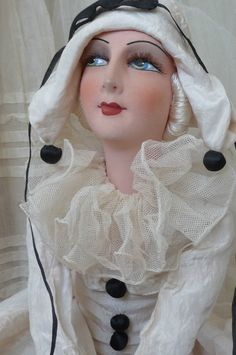 Антикварная французская кукла будуар. шелк. Пьеро кукла. colombine DOLL.C 1920.   Куклы и мягкие игрушки, Куклы, Антикварные (до 1930 г.)   eBay!