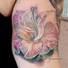 Gladiolus Flower Tattoo by Phil Garcia ~~ But in black and white for Dev