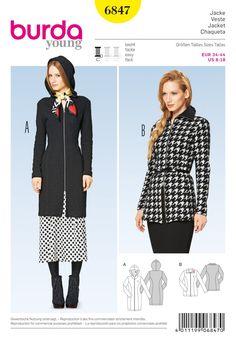 Burda Style B6847 Jacket, Coat & Vest Sewing Pattern