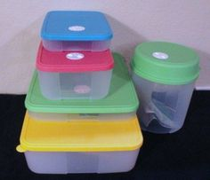 Tupperware Freezer Mates 5 Piece Set with Date Dials by Tupperware. $69.99. New Bright Seals with Date Dials in Hot Pink, Teal, Green & Yellow. Includes medium #1 capacity 2 cup, medium #2 capacity 6.25 cups, Large #1 capacity 5 cup, Large #2 capacity 13 cup and a 2 Liter Round. Tupperware Freezer Mates New Bright Assorted Color Set. It's easier than ever to organize your freezer with Tupperware Freezer Mates containers. Stackable containers form a modular storage system, s...