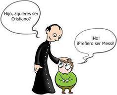 "Spanish jokes for kids, chistes para niños: Word play ""Cristiano."" #Soccer joke #futbol Cristiano o Messi?!! #compartirvideos.es #videosgraciosos"