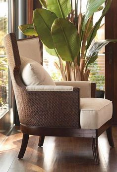 Sophisticated coastal style in mahogany and rattan.